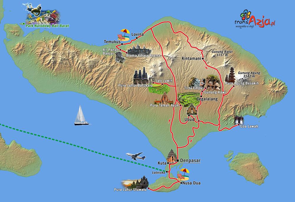 Mapa wyjazdu Bali zjogą