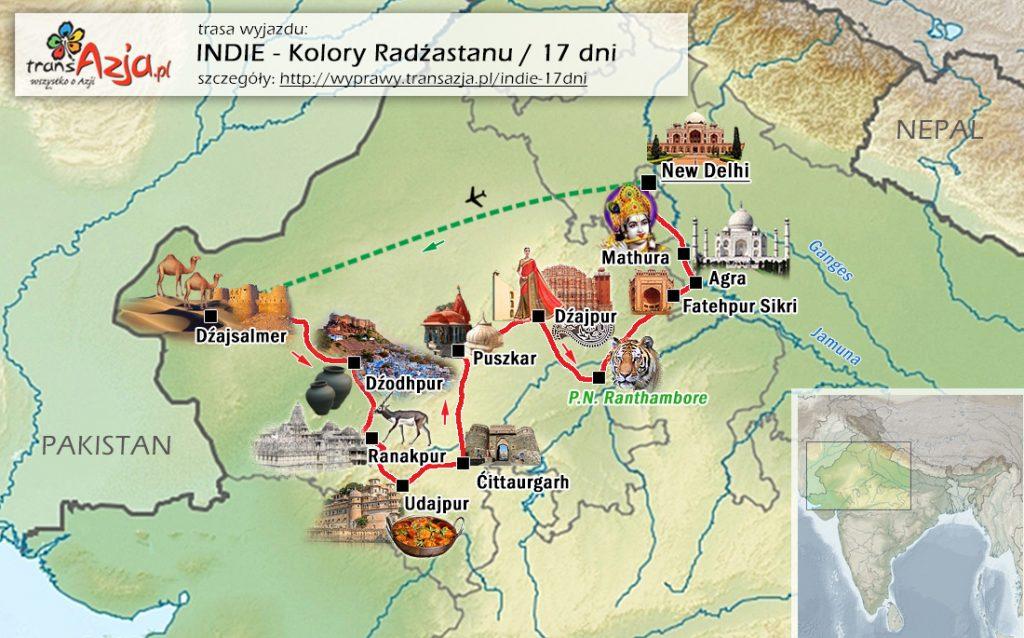Mapa wycieczki do Indii
